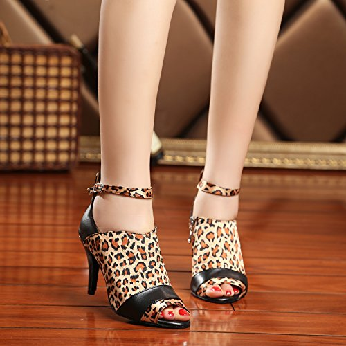 Minitoo - salón mujer Brown/Black-8.5cm Heel