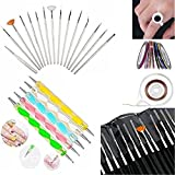 nail acrylic paint set - Glam Hobby 20pc Nail Art Manicure Pedicure Beauty Painting Polish Brush and dotting Pen Tool Set For Natural, False, Acrylic and Gel Nails