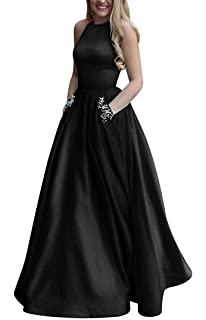 e6ad02e5cf Women s Long Beaded Halter Satin Prom Dress A Line Open Back Evening Gowns  with Pockets