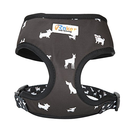 Rnker Dog Harness, Double Padded Soft Harness Vest Made by mutispandex for Small Dogs (Black)