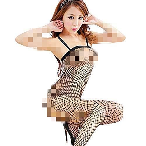 Howley Fashion Sexy Ladies Fishnet Hollow Transparent Bodysuit Underwear Sexy Pajamas (Black)