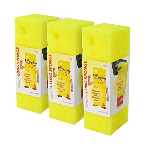 JellyDish 6 Piece Johnny Long/No Sponge Holder Needed Hang to Dry, No More Smelly Sponge Cleaning Sponges