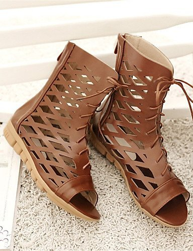 ShangYi Womens Shoes Leatherette Flat Heel Peep Toe Sandals Party & Evening / Dress / Casual Brown / Pink / White Pink