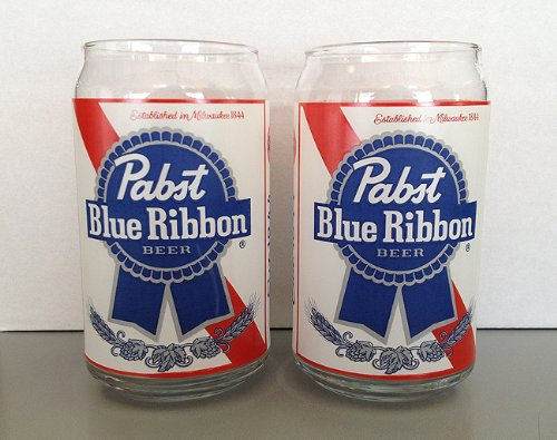Pabst Blue Ribbon Beer Can Shaped Beer Glasses 2 Pack (Pabst Blue Ribbon Beer)