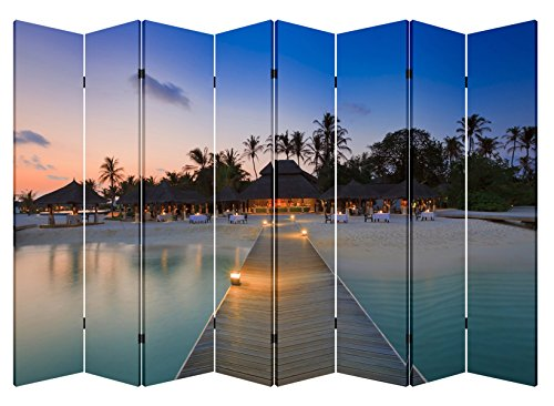 - 6 & 8 Panel Folding Screen Canvas Room Divider- Cabana by the Pier (8 Panels)