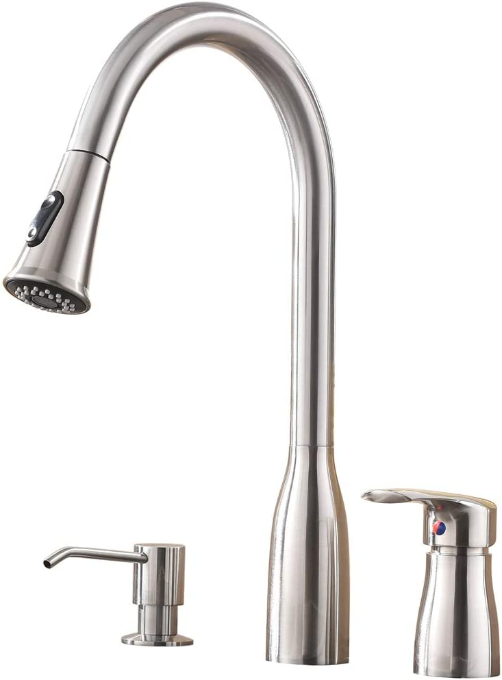 Hotis 3 Hole Single Handle Pull Down Kitchen Faucet, Kitchen Sink Faucet with Soap Dispenser