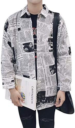 長袖シャツ カジュアルシャツ メンズ 新聞パターンデザイン ラペル ルーズシャツ 春夏 ファッション