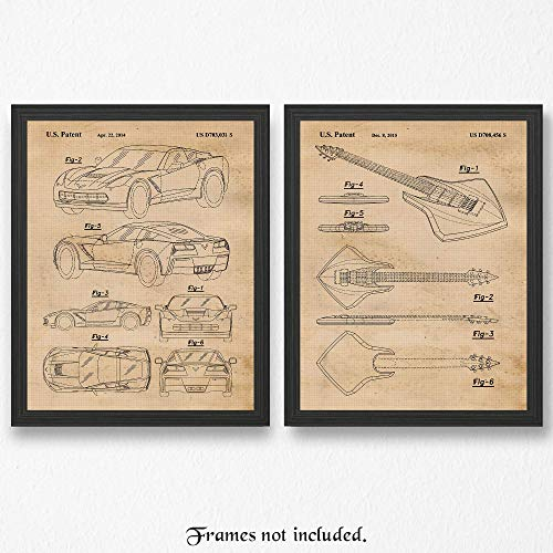 Original Corvette C7 & Stingray Electric Guitar Patent Poster Prints- Set of 2 (Two 11x14) Unframed Pictures- Great Wall Art Decor Gifts Under $20 for Home, Office, Man Cave, Garage, Muscle Car Fan