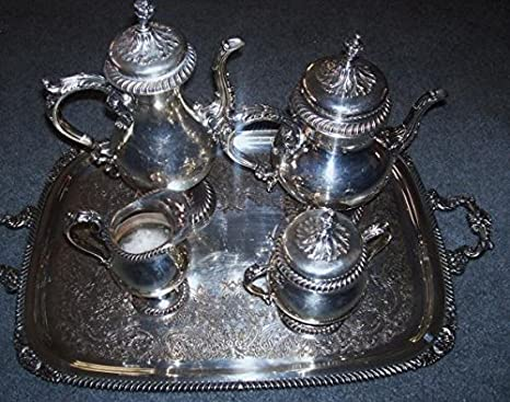 Vintage silver plate coffee serving set with silver tray