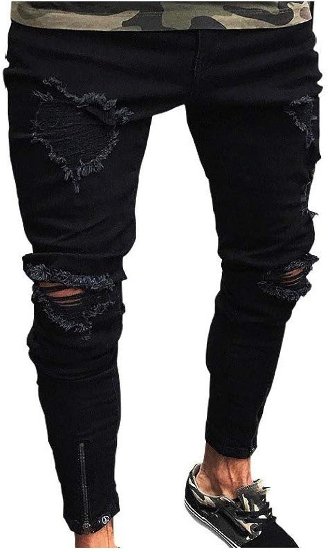 Romancly Men's Personalized Pocket Cut Out Zip Up Pure Color Holes Jean Trousers