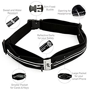 Sport2People Running Belt – iPhone X 6 7 8 Plus Pouch for Runners . Best Fitness Gear for Hands-Free Workout . Freerunning Reflective Waist Pack Phone Holder . Men, Women, Kids Running Accessories