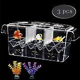 Tfwadmx Fish Breeding Box, Aquarium Breeder Box Fish Baby Hatchery Incubator Isolation with Artificial Plant for Guppy