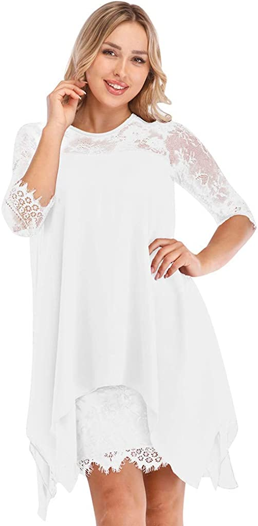 ZXjymll//~ Women Oversized Floral Lace Dresses Knee Length Wedding Party Dress 3//4 Sleeves
