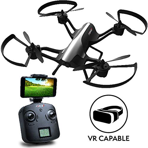 """Force1 F72 Drone with Camera – """"Rogue"""" Wifi FPV 720p HD Camera Drone with 1 Key Takeoff Landing and 360° Tricks Quadcopter (Certified Refurbished)"""