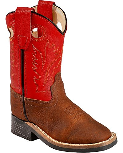Old West Toddler-Boys' Orange Cowboy Boot Square Toe Copp...