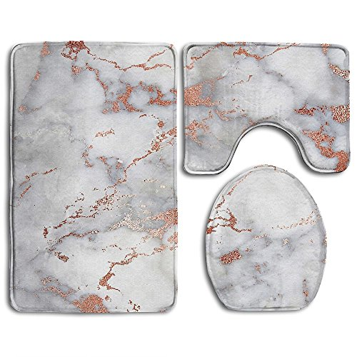 TingsCity Household Rose Gold Marble Soft Flannel Non-Slip Bathroom Rug Mats Set 3 Pc Antibacterial