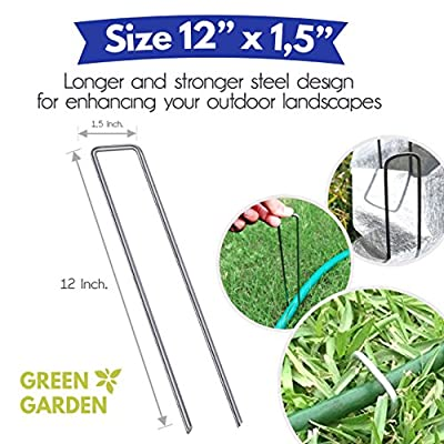 12 Inch [ 9 Guage ] Garden Landscape Staples Stakes Pins SOD | 50 Pack | Galvanized Steel | for Weed Barrier Fabric, Ground Cover, Soaker Hose, Lawn Drippers, Drip Irrigation Tubing