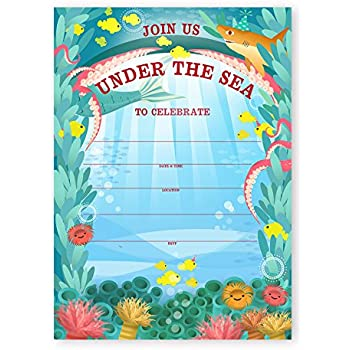 Amazoncom Under the Sea Invitations 8ct Kitchen Dining