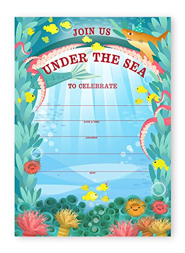 Under the Sea Party 20 LARGE Invitations - 20 Invitations + 20 Envelopes