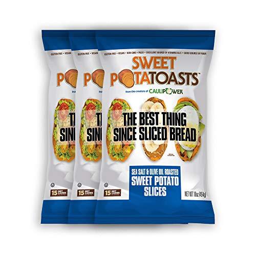 Sea Salt and Olive Oil Sweet PotaTOASTS from the creators of CAULIPOWER, Roasted Sweet Potato Slices, Frozen, 15 net carbs, Gluten free, Grain free, Non-GMO, Vegan, Paleo (3 bags, 16oz ()