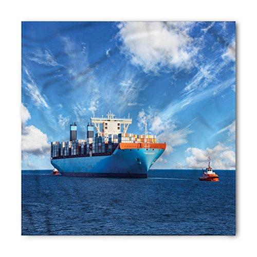 Lunarable Nautical Bandana, Tugboats with Cargo Ships, Unisex Head and Neck Tie ()