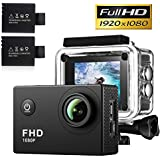 Action Camera,30 Meters Waterproof Camera,Full HD 1080P Sport Camera 2.0 Inch LCD Display 140 Degree Wide Angle Lens Outdoor Camera Video Recorder Include 2pcs Rechargeable Battery