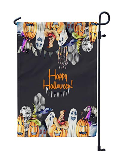 (Soopat Halloween Pumpkin Seasonal Flag, Card Frame Watercolor Halloween Objects PumpkinsWeatherproof Double Stitched Outdoor Decorative Flags for Garden Yard 12''L x 18''W Welcome Garden)