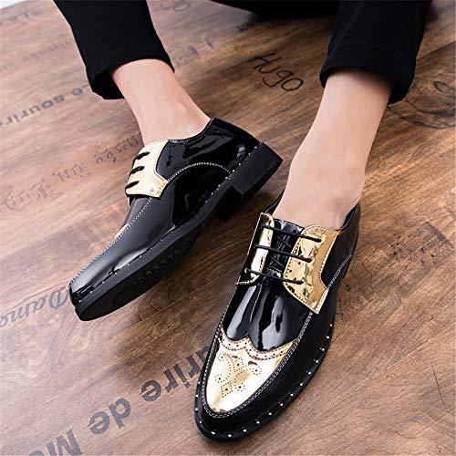 Acentuados Cuero con Charol de Casual Negocios de Gruesos Oxford de Gold Personalidad para Zapatos Hombres nOUzqUYw