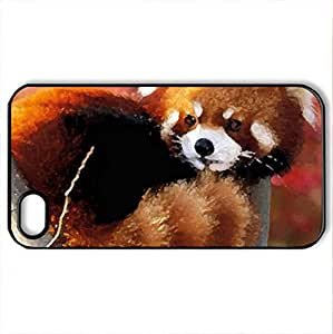 A baby red panda - Case Cover for iPhone 4 and 4s (Watercolor style, Black)