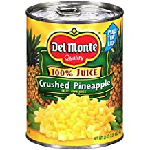 Del Monte Canned Crushed Pineapple in 100% Juice, 20-Ounce (Pack of 12)