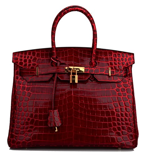 Ainifeel Women's Patent Leather Crocodile Embossed Top Handle Handbags (35cm, Claret) by Ainifeel
