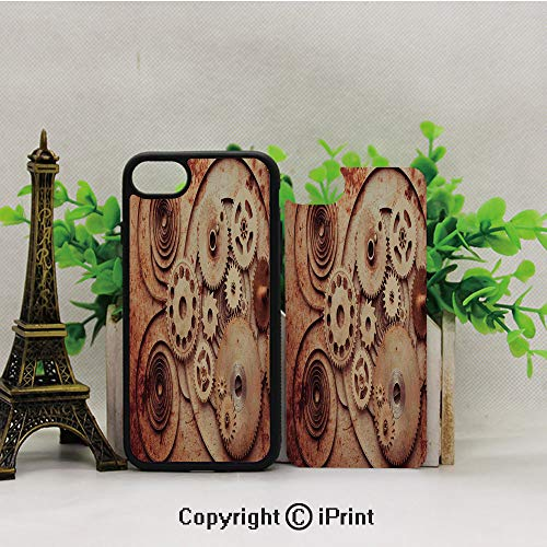 iPhone 8 Case,iPhone 7 Case,Mechanical-Clocks-Details-Old-Rusty-Look-Backdrop-Gears-Steampunk-Design-Decorative,Lining Hard Shell Shockproof Full-Body Protective Case Cover