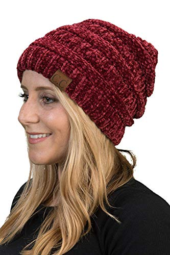 Funky Junque H-6020a-3064 Solid Ribbed Beanie - Chenille Burgundy