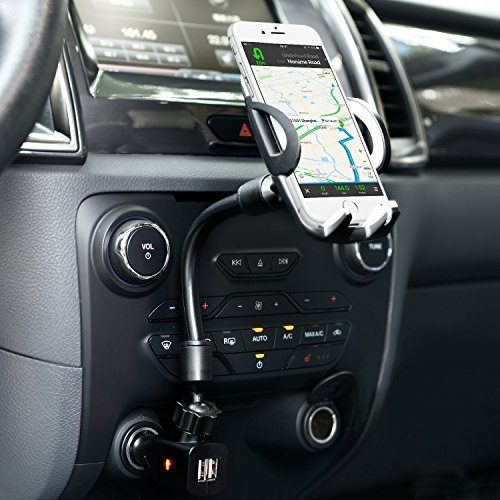 Amoner 3-In-1 Cigarette Lighter Car Mount Charger Phone Holder with Dual USB 2.1A Charger for iPhone X 8 8 Plus 7 7 Plus 6s 5s, Samsung Galaxy S9 S8 S8 Plus S7 Edge, Huawei and More Smartphones