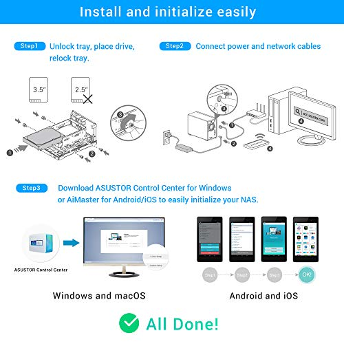 Asustor AS1002T v2 | Network Attached Storage + Free exFAT License | 1.6GHz Dual-Core, 512MB RAM | Personal Private Cloud | Home Media Server (2 Bay Diskless NAS) by Asustor (Image #4)