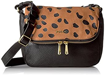 Fossil Women's Preston Small Flap Bag Cross Body Handbag, Cheetah, One Size