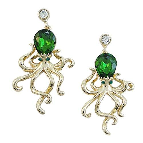 EVER FAITH Women's Rhinestone Crystal Little Octopus Animal Dangle Earrings Emerald Color Silver-Tone (Emerald Crystal Vintage)