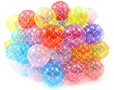 PowerTRC Non-Toxic 100'' Phthalates Free Crush Proof Pit Balls 2.5'' ~ 6.5cm Non-Recycled Quality Clear 10 Colors Play Balls