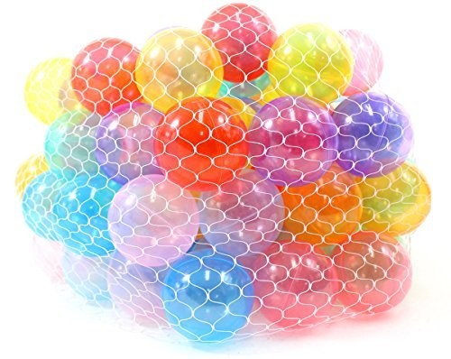 PowerTRC Non-Toxic 100 Phthalates Free Crush Proof Pit Balls 2.5 ~ 6.5cm Non-Recycled Quality Clear 10 Colors Play Balls