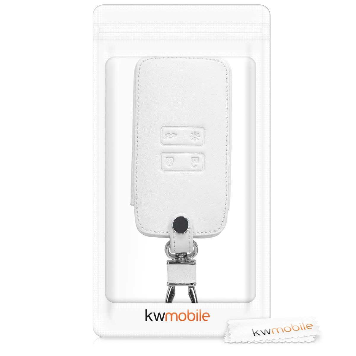 kwmobile Funda para Llave Smart Key de 4 Botones para Coche Renault Cuero sint/ético - Cubierta de - Case para Mando y Control de Auto con dise/ño de Rally Solamente Keyless Go