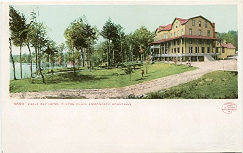 Vintage Postcard Print | Eagle Bay Hotel, Fulton Chain, N. Y, 1898 | Historical Antique Fine Art Reproduction - Vintage Postcard Bay