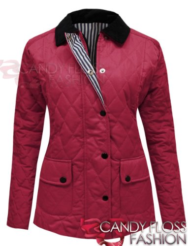 PADDED BUTTON 20 Fuchsia TOP LADIES 8 SIZES COAT PLUS Candy JACKET Floss QUILTED ZIP ICwCtqF