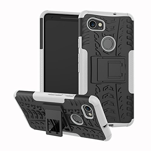 Price comparison product image Google Pixel 2 XL Case, Pixel 2 XL Case with Kickstand Hybrid Rugged Shockproof Slim Dual Layer Armor Hard PC Back TPU Bumper Protective Phone Case Cover for Google Pixel 2 XL (6.0 inch) 2017, White