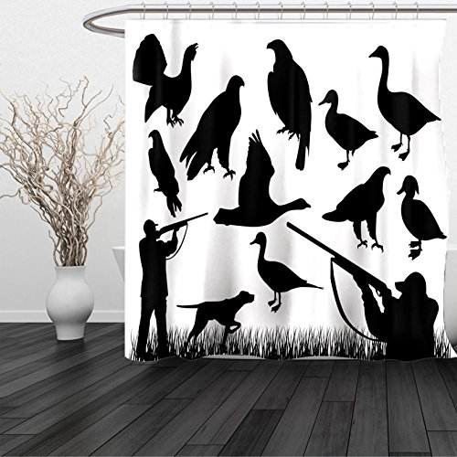 HAIXIA Shower Curtain Hunting Silhouettes of Wild Animals and Huntsman Grouse Mallard Duck Eagle Grass Black and White - Boston Red Sox Nutcracker