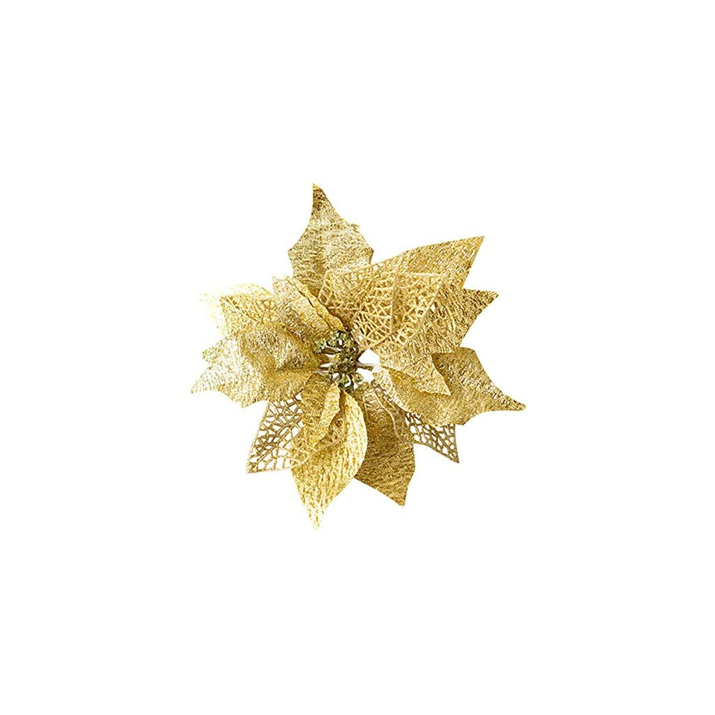 Hanobo-8Pcs-Gold-Glittery-Artificial-Christmas-Flowers-Christmas-Tree-Ornaments-Dia-83-Inch