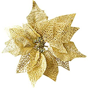 Hanobo 8Pcs Gold Glittery Artificial Christmas Flowers Christmas Tree Ornaments Dia 8.3 Inch 8