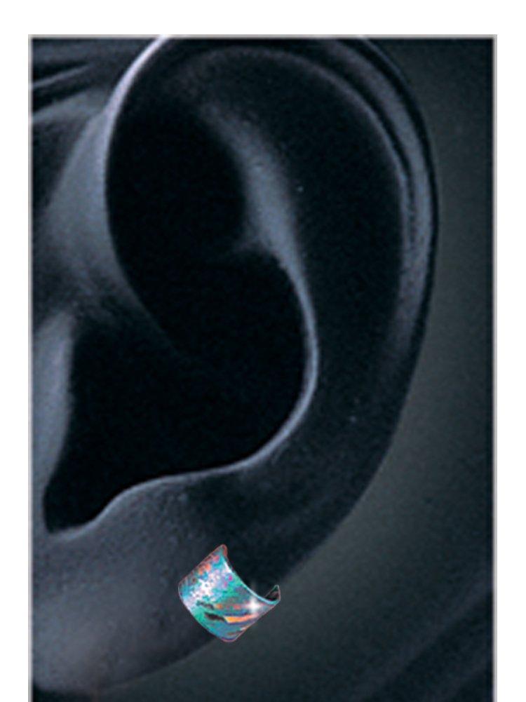 Earwrap (small narrow band Earcuff) 6SN Squiggle Niobioum by Harry Mason (Image #2)