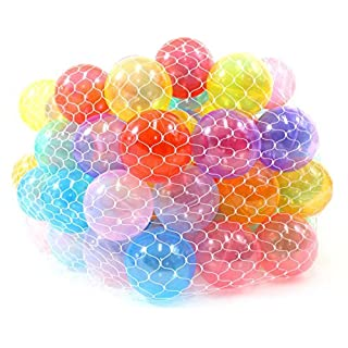 """PowerTRC Non-Toxic 100"""" Phthalates Free Crush Proof Pit Balls 2.5"""" ~ 6.5cm Non-Recycled Quality Clear 10 Colors Play Balls"""