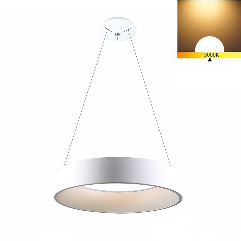 LED Hänge Pendelleuchten Modern Hollow Runde Restaurant Büro Kronleuchter weiß Acryl Pendelleuchten Warmes Licht 3000K(Durchmesser 45cm) , Warm light