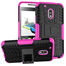 Moto G4 Play Phone Case DWaybox Hybrid Rugged Heavy Duty Armor Hard Back Cover Case for Motorola Moto G4 Play / Moto G Play 4th Generation 2016 XT1607/ XT1609/XT1600/XT1603 Stand Case with Kickstand (Hot PinK)